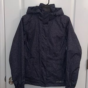 Eddie Bauer weatheredge navy blue rain jacket